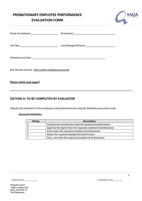 Employee Probation Review Form | Templates at allbusinesstemplates.com