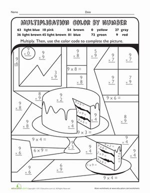 3rd grade math worksheet color by number multiplication color by number cake worksheet