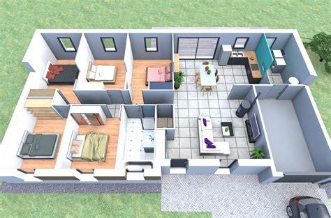 chambre style montagne plan de maison plain pied 5 chambres