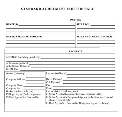 purchase agreement template word 6 free sales agreement templates excel pdf formats