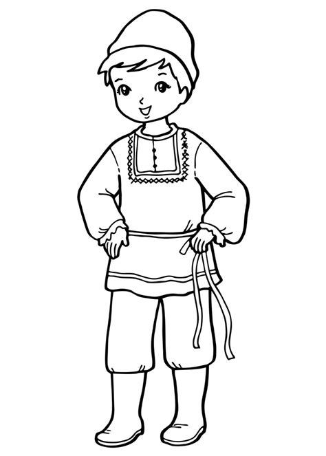 coloring page  boy  national costume