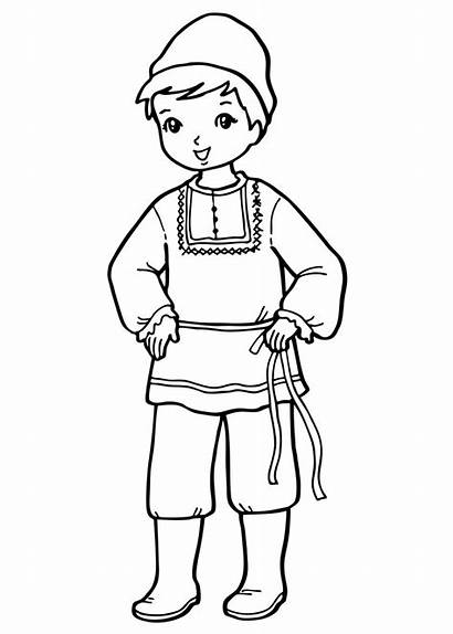Coloring Boy Costume National Pages Russian Around