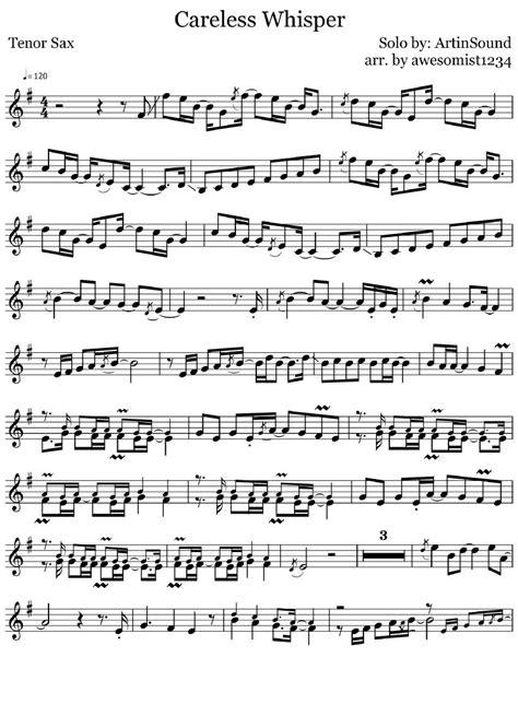 This is the free careless whisper sheet music first page. Careless Whisper (Tenor Sax) | Bản nhạc
