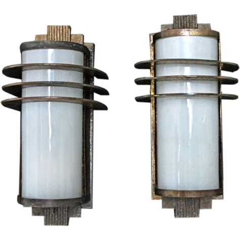 antique pair of deco sconces indoor outdoor at 1stdibs