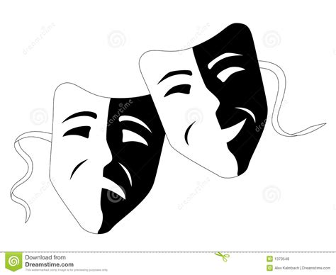 curtains white and black theatre masks tragedy comedy royalty free stock photos