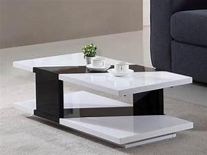 Table Basse Noir Laqué : table basse rozenne en mdf laqu coloris blanc noir ~ Teatrodelosmanantiales.com Idées de Décoration