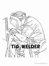 Welding Welder Drawing Tig Getdrawings Stickers sketch template