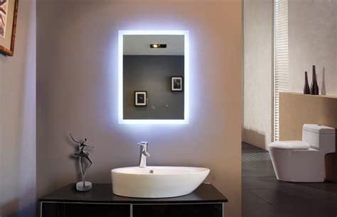 led lights behind bathroom mirror powerful reflection of illuminated bathroom mirror
