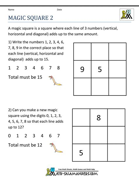 free math puzzles magic square 2 grade math