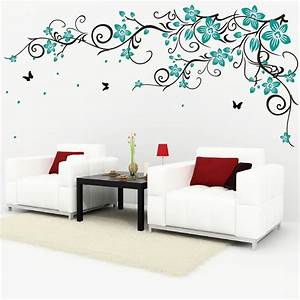 Butterfly vine flower vinyl wall art stickers