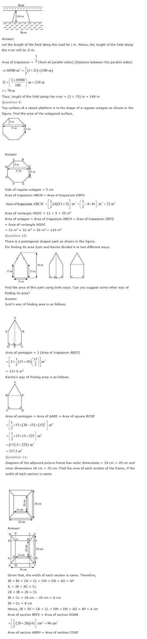 ncert solutions  class  maths chapter  mensuration