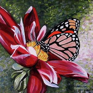 Butterfly On A Pink Flower Painting by Rachelle Dyer