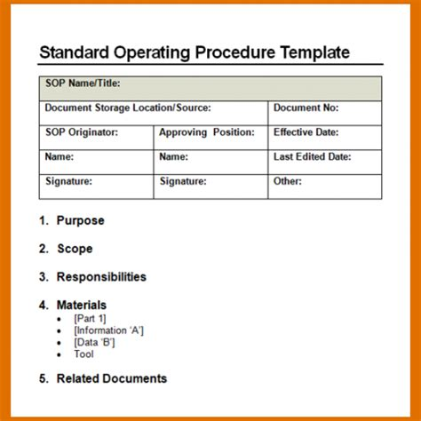 Sop Template 6 Standard Operating Procedure Template Wordreference