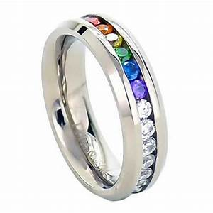 Inexpensive gay pride wedding rings or engagement rings for Wedding rings for gay couples