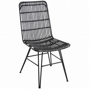 Chaise Rotin Metal : chaise noire en rotin et m tal mch1550 aubry gaspard ~ Teatrodelosmanantiales.com Idées de Décoration