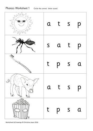 phonics picture match 1 s a t p by beemistress teaching