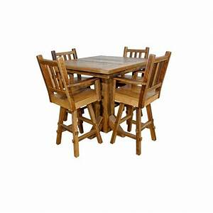 rustic reclaimed barn wood pedestal pub table with 4 With barn board bar stools