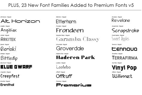 Font Families In Premium Fonts