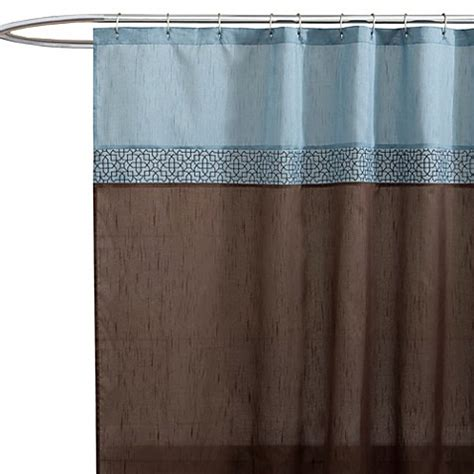 geometric shower curtain buy geometric blue brown fabric shower curtain from bed