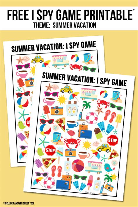 Summer Vacation I Spy Printable   Live Laugh Rowe