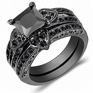 carbonado 14k black gold heart shaped black square With black gold black diamond wedding ring sets