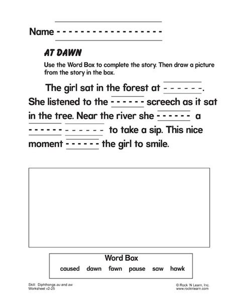 diphthongs au and aw free phonics worksheet vowel