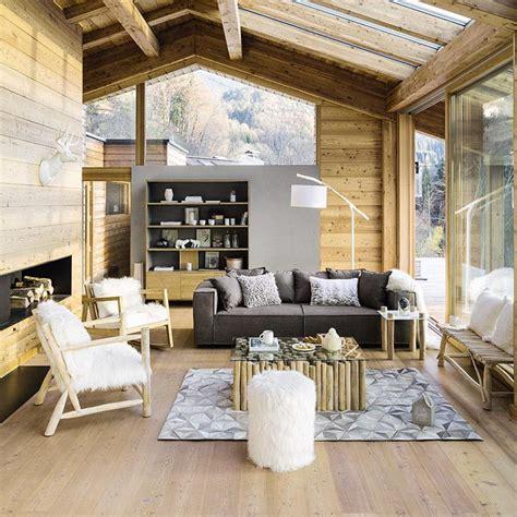 salon bois blanc gris chalet moderne maisons du monde living pi 232 ces 224 vivre