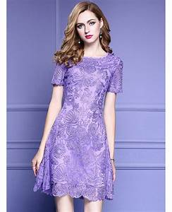 elegant purple lace a line wedding guest dress with high With purple dresses for wedding guests