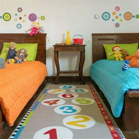 fun bright colours  unisex kids bedroom ikea rug