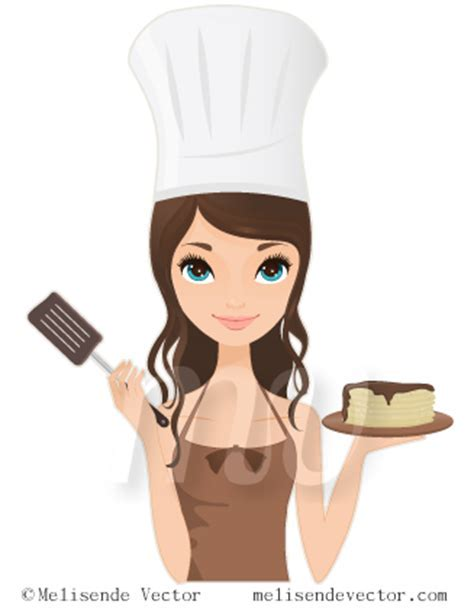 Chef woman holding pancakes and spatula illustration, Chef