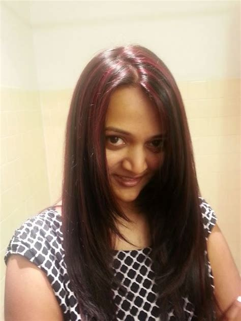indian girl  red highlights red color  black hair