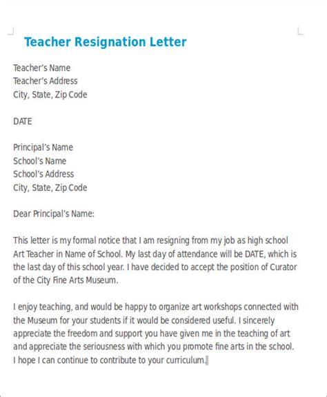 sample teaching resignation letters  sample