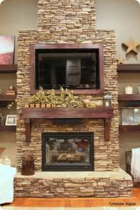 Fall Fireplace Mantel with TV Decorating Ideas