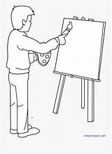 Cartoon Painting Someone Easel Lineart Clipart Clipartkey sketch template