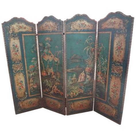 vintage screens room dividers antique italian 4 panel leather chinoiserie screen or room divider for sale at 1stdibs