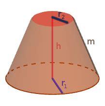 kegelstumpf hoehe volumen und flaechen berechnen
