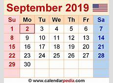 September 2019 Calendar Word – printable weekly calendar