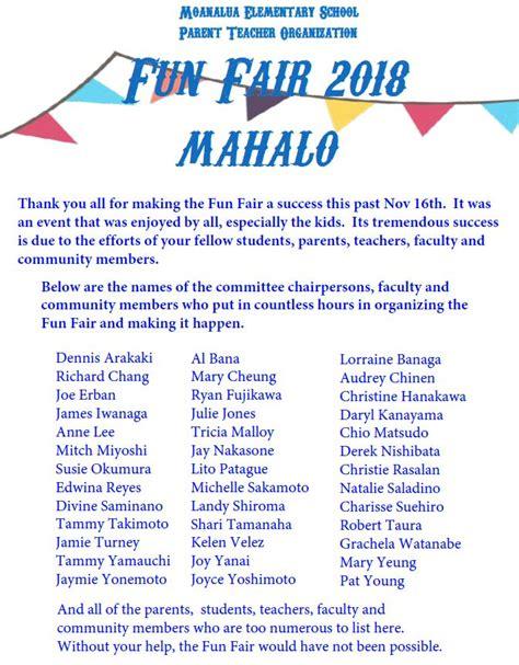 mahalo supporting fun fair moanalua elementary school pto