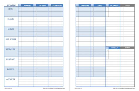 student planner template printable weekly student planners