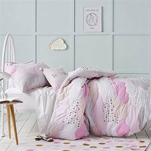 Adairs Kids - Pink Cloud Quilted Duvet Cover Set - Bedroom