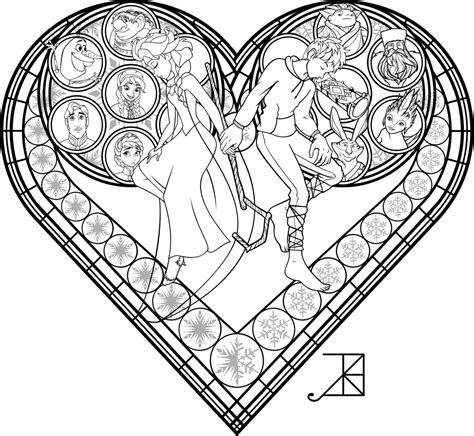 Stained Glass Coloring Page Frosted Love By Akili