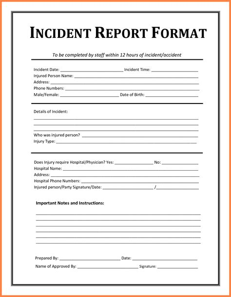 accident incident report form template progress report