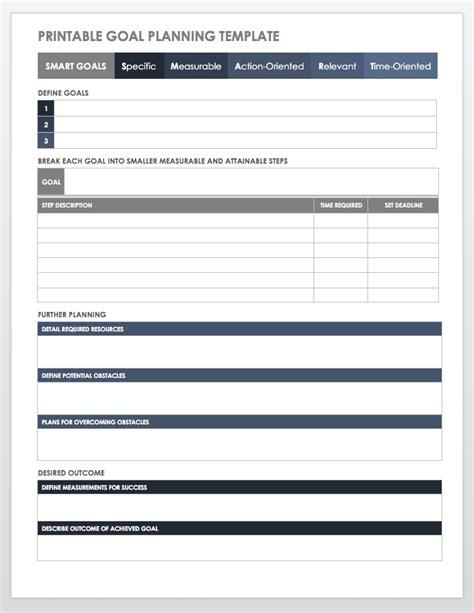 printable goal planning template work goal setting