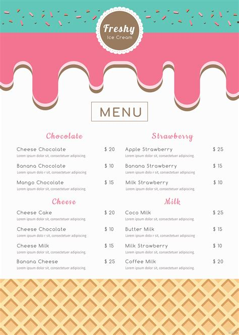 ice cream menu template  microsoft word microsoft