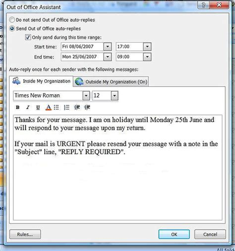 outlook message absence bureau out of office message outlook the out of office feature