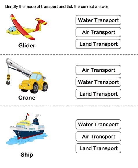 teaching transport  printable transport worksheets