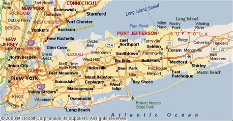 map  long island showing  location  port