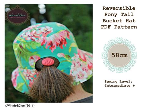 pony tail bucket hat  sewing pattern cm