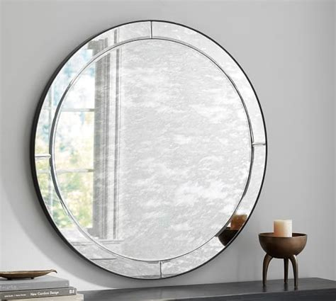 pottery barn glass l walker antiqued round glass mirror pottery barn
