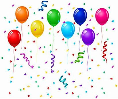 Balloons Birthday Confetti Transparent Clipart Clip Balloon